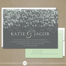 Gray and mint green invite set, Etsy