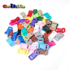 "20pcs Mixed Colorful 3/8"" Plastic Hardware Paracord Bracelet Buckles Curved Dog Cat Collar Webbing Outdoor Kits#FLC003-C(Mix-s)"
