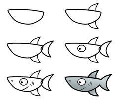 Cute cartoon shark made from one large oval shape. Enjoy the drawing! :)