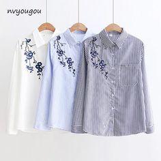 48d96665d91 Для женщин блузки Полосатые рубашки 2018 осенью новый Для женщин  Повседневное Топы с длинным рукавом Свободные женские рубашки Изысканная  блузка Костюмы ...