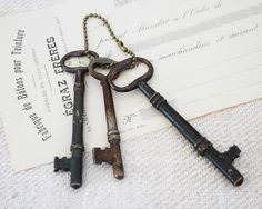 Three Large Vintage Keys by BailiwickVintage on Etsy, $18.00