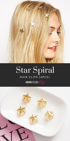 Transform your hair into a sky full of stars! These cute star clips attach to your hair easily to create a whimsical look fit for any occasion. Messy Bob Hairstyles, Easy Hairstyles For School, Teen Hairstyles, Vintage Hairstyles, Pretty Hairstyles, Kids Hairstyle, Hairstyle Ideas, Medium Hair Styles, Short Hair Styles
