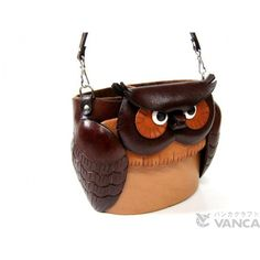 Genuine Leather Dual Eyeglasses Holder Big Owl Handmade Leather is made by skillful craftsmen of VANCA CRAFT in Japan. Eyeglass Holder, Handmade Leather, Craftsman, Eyeglasses, Bucket Bag, Owl, Japan, Bags, Accessories