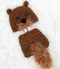 Baby Beaver Hat and Diaper Cover Set by PreciousMomentsProps
