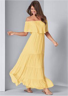Tiered Maxi Dress,Transparent Studded Heels,Studded Flip Flops,Shell Detail Bracelet Set Yellow Maxi Dress, Pink Maxi, Cruise Dress, Cruise Outfits, Formal Dress Shops, Little White Dresses, Everyday Dresses, Plus Size Maxi Dresses, Animal Print Dresses