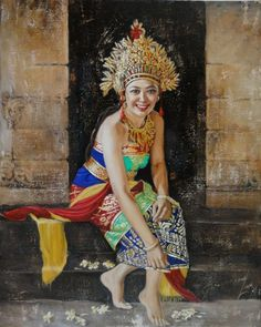 """Beauty and Enchantment"" – solo exhibition by Josephine Linggar Bali Painting, Indonesian Art, Caribbean Art, Art Journal Inspiration, Chinese Art, Art Oil, Asian Art, Female Art, Illustration Art"