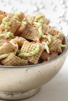 Sugar Cookie Chex Party Mix:  Combine butter and sugar with Chex cereal; microwave and shake into a yummy made-in-minutes party mix.