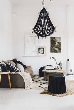 A quirky chandelier-style beaded pendant or a minimal Chinese paper shade might suit your scheme perfectly, you don't always need designer pieces to make an impression.