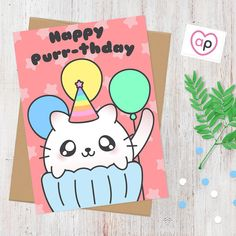 Happy Purr-thday Cat Pun Card Birthday Card  by AlluringPrints