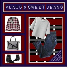 """Plaid & Sweet Jeans"" by latoyacl on Polyvore"