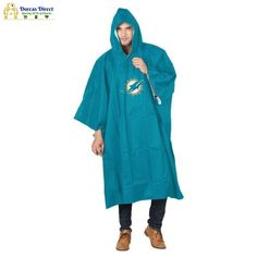 """Don't be rained out at your next outdoor event with The Northwest Company deluxe team rain poncho. Adult size poncho measures 44"""" in height and 49"""" in width and is made of durable PEVA weather-proof construction. A combination of the plastic snaps that close securely at your sides with the adjustable drawstring hood work to keep you dry. Your favorite team logo is emblazoned on the front center. Includes a drawstring mesh reusable carrying pouch making this easy to carry with you wherever you go Rain Poncho, Drawstring Pouch, Miami Dolphins, North West, Team Logo, Nfl, Raincoat, Mesh, Weather"""