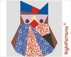 paper pieced quilt blocks free patterns | Mom owl quilt PDF ... by 3patch | Quilting Pattern