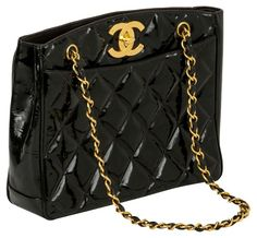 Chanel CC Black Patent  Shopper