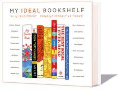 Boek over de boeken die belangrijk waren voor 100 'cultural figures' in de vorm van een geschilderde boekenplank met toelichting; Jane Mount & Thessaly la Force