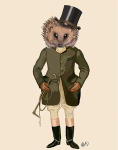 Hedgehog Rider Full 14x11 Digital Print Poster by LoopyLolly, $36.00