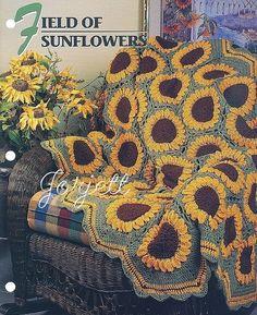 Field Of Sunflowers - Annie's Crochet Quilt & Afghan - Pattern Crochet Sunflower Quilt Blanket Afghan, Bedspread, Home Decor, Bedding, Throw Sunflower Quilts, Crochet Sunflower, Crochet Flowers, Annie's Crochet, Easy Crochet, Crochet Hooks, Afghan Crochet Patterns, Crochet Stitches, Knitting Patterns