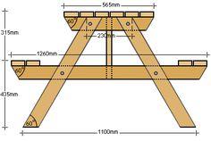 Gratis bouwtekeningen voor een houten tuintafel met banken, picknicktafel stijl.