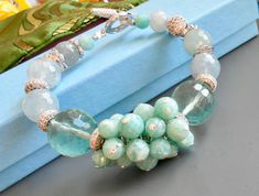 Spring Turquoise bracelet with Amazonites , Aquamarines,Beryls and Pave clasp and findings