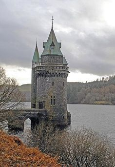 The Straining Tower, Lake Vyrnwy, Wales is actually not a castle, it strains the water before it goes along a pipeline to Liverpool 70 miles away
