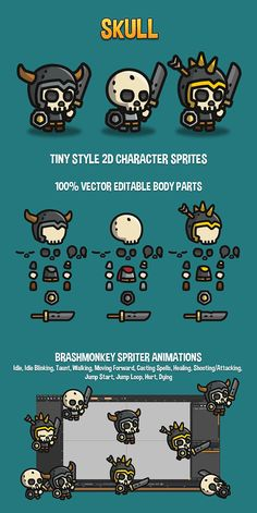 Skull Tiny Style 2D Sprites