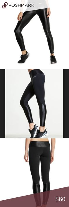 """Bodyism I am Shiny Paneled Leggings High End Workout Leggings from Bodyism fits and feels  like a S (Tag has been cut off)  Founder of the cult Clean & Lean cookbook, James Duigan has ventured into sportswear with Bodyism. His flattering pieces are crafted from lightweight, high-tech fabrics designed for breathability and optimal performance. We especially love the 'I Am Shiny' coordinating sets.  The leggings feel thick and luxurious. Very stretchable material  inseam 27.5""""   Please no low…"""
