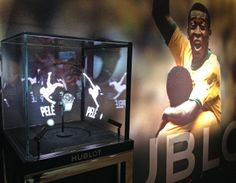The King Pelé presented with the Hublot Sphere display for the next World Cup in Brazil. World Cup, Brazil, Animation, King, Display, Floor Space, World Cup Fixtures, Billboard, Animation Movies