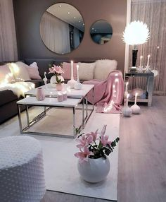 Living room setup grey pink and white colour scheme - - Wohnkultur Ideen - Wohnzimmer Living Room Setup, Living Room Decor Cozy, Home Living Room, Living Room Designs, Bedroom Decor, Bedroom Ideas, Cozy Bedroom, Living Room Ideas For Apartments, Bedroom Styles