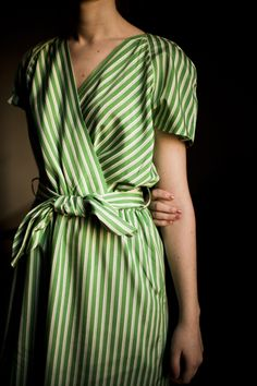 Green stripe wrap dress