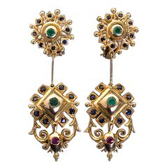 LALAOUNIS Byzantium Dangle Earrings | From a unique collection of vintage dangle earrings at https://www.1stdibs.com/jewelry/earrings/dangle-earrings/