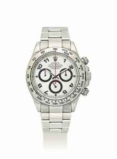ROLEX. AN 18K WHITE GOLD AUTOMATIC CHRONOGRAPH WRISTWATCH WITH BRACELET