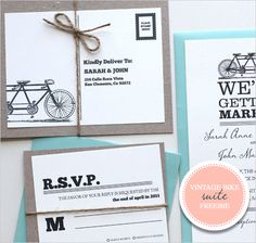 printable tandem bicycle wedding invite set: other printable invites available as well