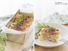 Lasaña de patata. Receta con fotos del paso a paso y sugerencias de presentación. Trucos y consejos de elaboración. Recetas de legumbres y verdu...
