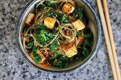 Soba Noodles with Kale, Tofu, and Furikake Recipe Main Dishes with soy sauce, sesame oil, rice vinegar, honey, scallions, kale, carrots, extra firm tofu, soba noodles, furikake