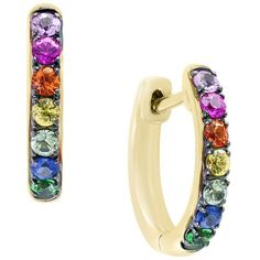Multicolor Sapphire and Tsavorite Hoop Earrings in 14K Yellow Gold -... (€980) ❤ liked on Polyvore featuring jewelry, earrings, 14k yellow gold earrings, tri color gold earrings, yellow gold hoop earrings, tri color hoop earrings and yellow gold earrings