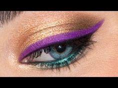 Make eye color pop with this Bright Eyeliner Tutorial.  Mardi Gras/ Peacock eye. Makeup by: Jordan Liberty Model: Brooke Quinn  Give Good Face