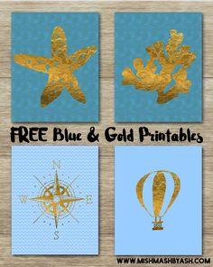 Free blue and gold printable art!! Starfish printable, ocean printable, compass, hot air balloon printable. Download, print and frame!! www.mishmashbyash.com