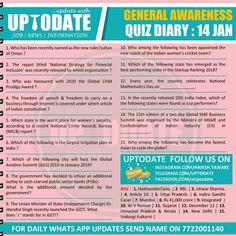 General Awareness #Quiz Diary : 14 Jan Ruler, Finance, Names, Economics