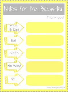 "TGIF!! Got a hot date tonight and need to make sure your babysitter is prepared with all the need-to-know info? FREE ""Notes for the Babysitter"" Printable!! Great idea to keep everything in one place."