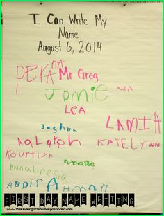 Have students write their name on a class chart on the first day!  Save until the end of the year and do it again on the last day to show growth! Beginning Of Kindergarten, Kindergarten Teachers, Kindergarten Open House Ideas, Kindergarten Anchor Charts, Teaching Kindergarten, Beginning Of School, Kindergarten Name Activities, Kindergarten Orientation, September Preschool