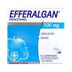Efferalgan, PA: Paracetamol. Analgésico y antipirético. Inhibe la síntesis de prostaglandinas en el SNC y bloquea la generación del impulso doloroso a nivel periférico. Actúa sobre el centro hipotalámico regulador de la temperatur