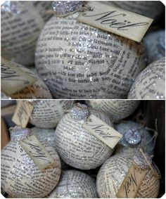 Ornaments made using old book pages and glitter. great way to use/hide/reuse old or ugly ornaments