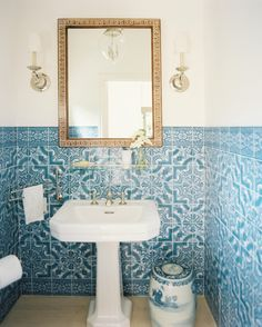 Beautiful blue and white tile in this bathroom. Mark D. Sikes Interior Design