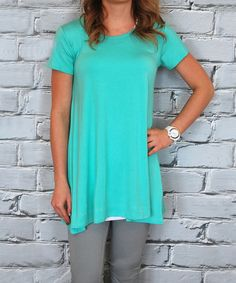 Loving this Mint Short-Sleeve Tunic on #zulily! #zulilyfinds