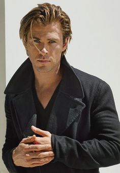 Chris Hemsworth in Chaps Wool Peacoat