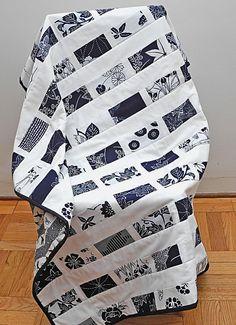 indigo and white Japanese yukata fabric lap quilt