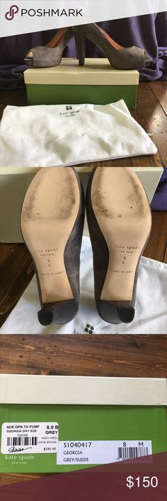 Kate Spade shoes Fab Kate Spade grey suede open toed shoes with silk 4ins heel , so comfy and gorgeous !!!!!😍 kate spade Shoes Heels