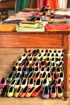 Handmade Kokua flats from Barcelona. In every color of the rainbow.