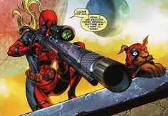 "Lady Deadpool & Dogpool - ""I love this gun. I mean I like shooting things generally, but THIS gun I want to marry."""