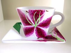 Stargazer Lily Teacup and Saucer by MEKU on Etsy, $34.00
