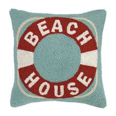 A classic nautical or cottage look, Beach House Life Ring Pillow!